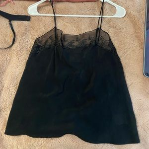 100% silk black lace cami, fits xs to m :)